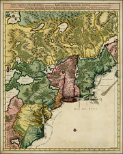 New England, Mid-Atlantic and Southeast Map By Nicolaes Visscher I