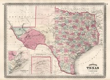Texas Map By Alvin Jewett Johnson