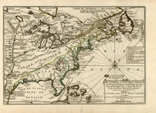 United States and Canada Map By Nicolas de Fer