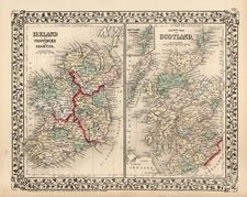 Europe and British Isles Map By Samuel Augustus Mitchell Jr.