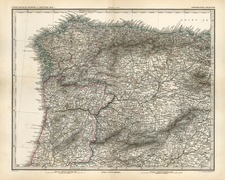 Europe, France and Spain Map By Adolf Stieler