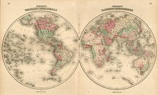 World and World Map By Benjamin P Ward  &  Alvin Jewett Johnson