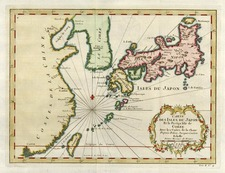 Asia, China, Japan and Korea Map By Jacques Nicolas Bellin