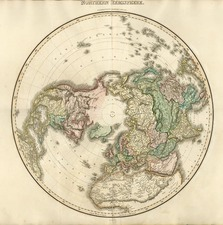 World, Northern Hemisphere, Polar Maps, Alaska and North America Map By John Pinkerton
