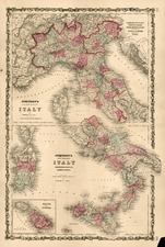 Europe, Italy and Balearic Islands Map By Benjamin P Ward  &  Alvin Jewett Johnson