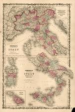 Europe, Italy and Balearic Islands Map By Benjamin P Ward  &  Alvin Jewett Johnson