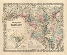 Mid-Atlantic Map By Joseph Hutchins Colton