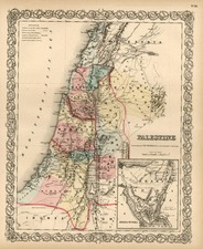 Asia and Holy Land Map By Joseph Hutchins Colton
