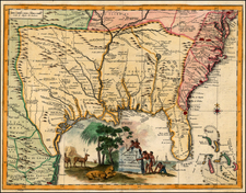 South, Southeast, Texas and Midwest Map By Giambattista Albrizzi