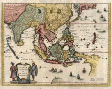 Asia, China, India, Southeast Asia, Australia & Oceania and Oceania Map By Matthaus Merian