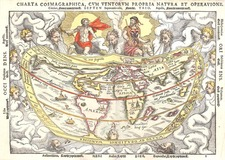 World and World Map By Peter Apian  &  Rainer Gemma Frisius