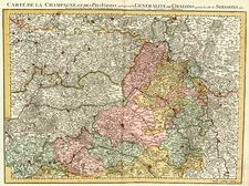France Map By Johannes Covens  &  Cornelis Mortier