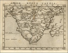 Africa and South Africa Map By Girolamo Ruscelli