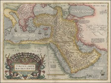 Europe, Turkey, Mediterranean, Asia, Middle East and Turkey & Asia Minor Map By Abraham Ortelius
