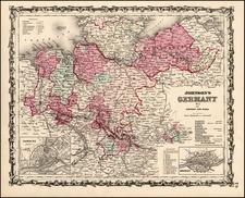 Europe, Germany and Scandinavia Map By Benjamin P Ward  &  Alvin Jewett Johnson