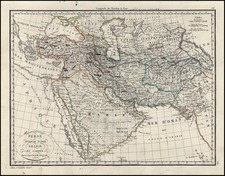 Asia, Middle East and Turkey & Asia Minor Map By Alexandre Emile Lapie