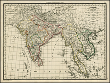 Asia, India, Southeast Asia and Central Asia & Caucasus Map By Alexandre Emile Lapie