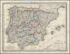Europe, Spain and Portugal Map By Alexandre Emile Lapie