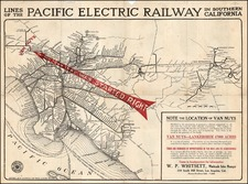 California Map By D.W. Pontius / Pacific Electric Railway