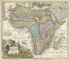 Africa and Africa Map By Matthaus Seutter