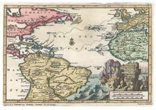 World, Atlantic Ocean, North America, Caribbean and South America Map By Pieter van der Aa