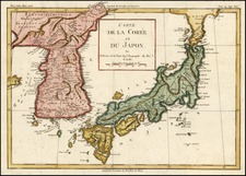 Asia, Japan and Korea Map By Louis Brion de la Tour
