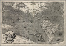 World, Western Hemisphere, Polar Maps, South America, Pacific and America Map By Jodocus Hondius / Jean Le Clerc