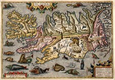 World, Atlantic Ocean, Europe, Iceland and Balearic Islands Map By Abraham Ortelius