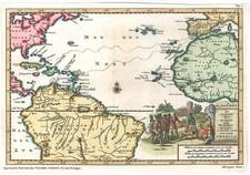 World, Atlantic Ocean, South America and America Map By Pieter van der Aa