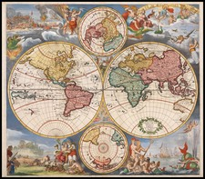 World, World and Polar Maps Map By Reiner & Joshua Ottens / Frederick De Wit