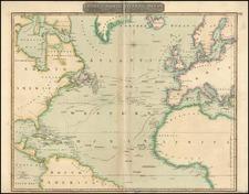 World, Atlantic Ocean, North America and Caribbean Map By John Thomson