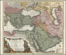 Europe, Turkey, Mediterranean, Asia, Middle East and Turkey & Asia Minor Map By Tobias Conrad Lotter