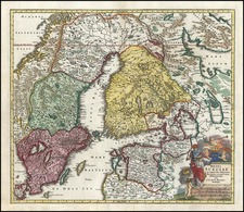Europe, Baltic Countries and Scandinavia Map By Johann Baptist Homann