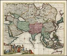 Asia, Asia, Australia & Oceania and Australia Map By Reiner & Joshua Ottens / Frederick De Wit