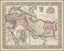 Asia, Middle East and Turkey & Asia Minor Map By Samuel Augustus Mitchell Jr.