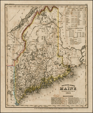 New England and Maine Map By Joseph Meyer