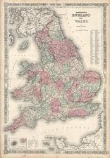 Europe and British Isles Map By Benjamin P Ward  &  Alvin Jewett Johnson