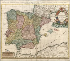Europe, Spain and Portugal Map By Johann Baptist Homann