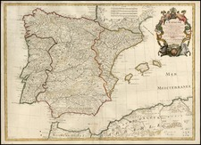 Europe, Spain and Portugal Map By Guillaume De L'Isle