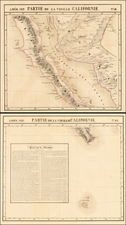 Mexico, Baja California and California Map By Philippe Marie Vandermaelen