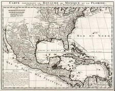 South, Texas, Caribbean and Central America Map By Henri Chatelain