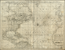 Atlantic Ocean, United States, North America and Caribbean Map By William Herbert