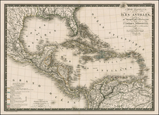 Southeast, Caribbean and Central America Map By Adrien-Hubert Brué