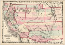 Southwest, Rocky Mountains and California Map By Alvin Jewett Johnson  &  Browning