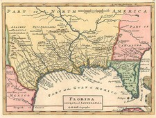 South, Southeast, Texas and Southwest Map By Herman Moll
