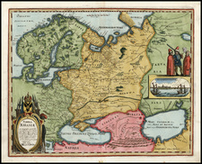 Europe, Poland, Russia, Baltic Countries, Asia, Central Asia & Caucasus and Russia in Asia Map By Matthaus Merian
