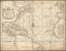 World, Atlantic Ocean, Southeast, North America and Caribbean Map By William Mount  &  Thomas Page