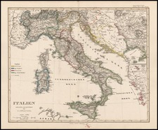 Europe and Italy Map By Adolf Stieler