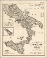 Europe, Italy and Balearic Islands Map By Adolf Stieler