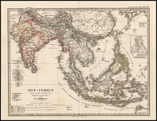 Asia, China, India, Southeast Asia and Philippines Map By Adolf Stieler